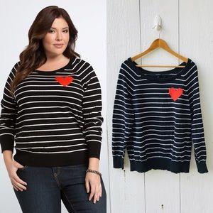 Torrid Striped Heart Knit Sweater size 2